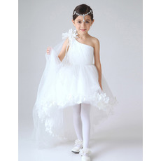 Lovely One Shoulder High-Low Girls First Communion Dresses/ White Asymmetrical Flower Girl Dresses with Petal Detailing