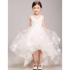 2016 Style Charming Spaghetti Straps V-neck High-Low Girls First Communion Dresses with Sash/ Asymmetrical Hem Satin and Tulle F