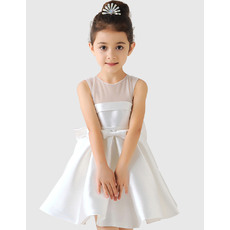 Lovely A-Line Short Satin and Tulle Girls First Communion Dresses/ Charming Illusion Neckline Flower Girl Dresses Under 100