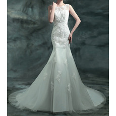Modern Mermaid Beading Appliques Court Train Tulle Wedding Dresses with V-back