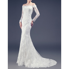 Sexy Sheath Off-the-shoulder Sweep Train Lace Wedding Dresses with Long Sleeves