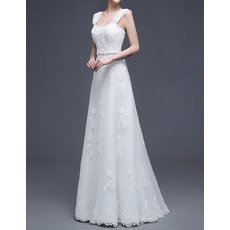 Affordable Elegant A-Line Straps Full Length Satin Organza Wedding Dresses with Beaded Applique