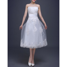 Pretty Strapless Tea-Length Tulle Reception Wedding Dresses with Beaded Applique