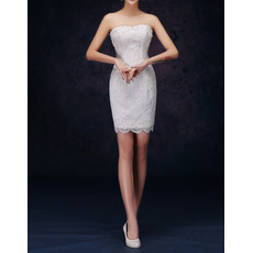 Sexy Column Strapless Sleeveless Short Applique Lace Petite Reception Wedding Dresses with Bling