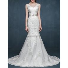 Modern Mermaid V-Neck Sleeveless Sweep Train Lace Wedding Dresses with Beaded Belt
