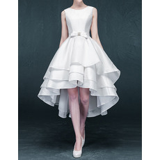 New Arrival Simple Princess High-Low Asymmetric Short Satin Tiered Wedding Dresses with Bow