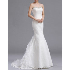 Elegant Mermaid Beaded Rhinestone Sweetheart Lace Wedding Dresses with Ruffled Train