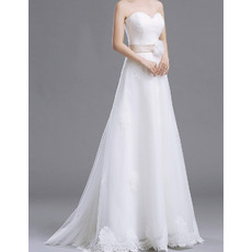 Elegant A-Line Sweetheart Sweep Train Organza Wedding Dresses with Belt and 3D Flower
