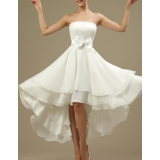 Casual Strapless High-Low Short Lace Chiffon Reception Wedding Dresses with Bow