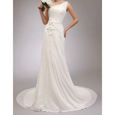 Romantic Elegant Asymmetrical Neckline Court Train Chiffon Wedding Dresses with Petal and Appliques