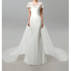 Elegant Ivory Sheath Illusion Tulle Neckline Short Sleeves Full Length Beaded Chiffon Wedding Dresses with Train