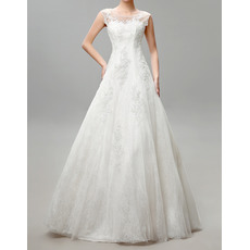 Vintage A-Line Bateau Full Length Tulle Beaded Applique Wedding Dresses with Open Back
