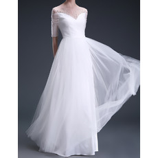 New Arrival Elegant Beaded Illusion Neckline Full Length Tulle Wedding Dresses with Half Sleeves