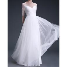 New Arrival Elegant Beaded Illusion Neckline Full Length Tulle Wedding Dresses with Half Sleeves