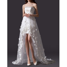 Romantic Strapless High-Low Satin Tulle Petal Wedding Dresses with Train