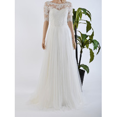 Elegant Illusion Neckline Tulle Over Satin Wedding Dresses with Appliques and Half Sleeves