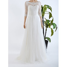Elegant Illusion Neckline Full Length Tulle Lace Wedding Dresses with 3/4 Sleeves/ Pleated Skirt Bride Gowns for Spring