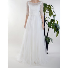 Elegant Illusion Neckline Sweep Train Tulle Lace Wedding Dresses with Half Sleeves/ Pleated Skirt Bride Gowns for Spring