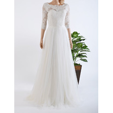 Elegant Illusion Neckline Full Length Tulle Wedding Dresses with 3/4 Sleeves/ Pleated Bride Gowns with Appliques