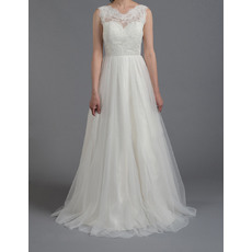 New Style Lovely A-Line Sleeveless Full Length Tulle Wedding Dresses/ Low Back Pleated Bride Gowns with Appliques