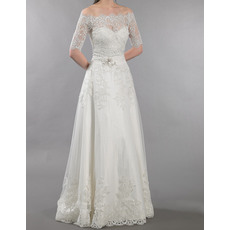 Sexy Off-the-shoulder Applique Tulle Wedding Dresses with Sleeves/ Sweep Train Bride Gowns with Beaded Ruched Waist