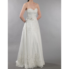 Perfect Sweetheart Full Length Tulle Applique Wedding Dresses/ Sweep Train Bride Gowns with Beaded Ruched Waist
