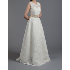 Vintage A-Line Illusion Neckline Sleeveless Lace Wedding Dresses with Belts/ Low Back Sweep Train Bride Gowns with Beaded Waist