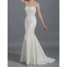 Discount Lovely Mermaid/ Trumpet Sweetheart Ivory Lace Wedding Dresses/ 2016 New Arrival Court Train Garden Bride Gowns