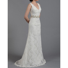 Elegant Sheath Double V-Neck Full Length Lace Wedding Dresses with Beadings Crystal Belt