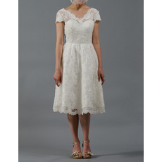 Discount Simple Knee Length Lace Reception Wedding Dresses with Short Cap Sleeves