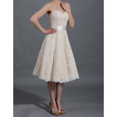 Affordable Simple Sweetheart Knee Length Lace Reception Wedding Dresses with Belt