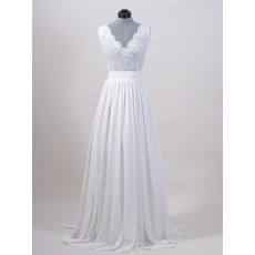 Sexy Column Double V-Neck Sweep Train Chiffon Wedding Dresses with Beaded Applique for Spring
