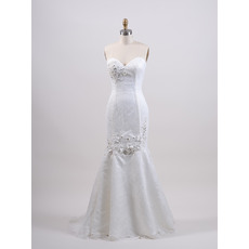 Exquisite Mermaid Sweetheart Full Length Lace Wedding Dresses with Crystal Beading
