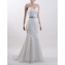 Stylish Mermaid Sweetheart Sweep Train Lace Wedding Dress with Beaded Belt