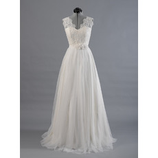 Elegant Double V-Neck Sweep Train Appliqued Tulle Wedding Dresses with Flower Waistband/ Pleated Skirt Bride Gowns