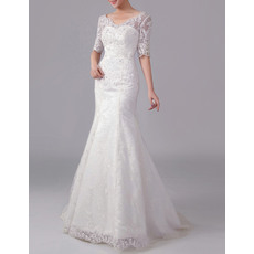Modern V-Neck Full Length Beaded Lace Wedding Dresses with Half Sleeves/  Mermaid  Low Back Bride Dresses