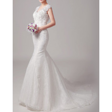New Arrival Mermaid Sleeveless Court Train Lace Wedding Dresses/ Sexy Open Back Bride Dresses with Beaded Applique