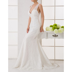 Discount Sexy Sheath V-Neck Sweep Train Lace Wedding Dresses with Open Back/ Stylish Ivory Bride Dresses