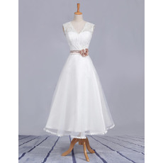 Affordable A-Line V-Neck Tea Length Satin Lace Beach Wedding Dresses with Belts/ Simple Reception Bridesmaid Gowns