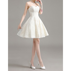 Petite Casual A-Line Sweetheart Sleeveless Short Lace Wedding Dresses/ Affordable Reception Bride Dresses