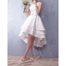 New Style Modern A-Line Open Back High-Low Taffeta Tiered Skirt Wedding Gowns/Bride Dresses with Belts ande Beaded