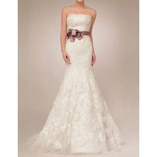 Discount Mermaid Floor Length Lace Tulle Wedding Dresses with Belts and Appliques