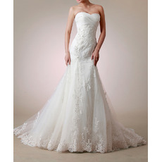 Stylish Mermaid Sweetheart Court Train Satin Tulle Wedding Dresses with Appliques Beaded