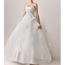 Unique Non Traditional Ball Gown Sweetheart Full Length Satin Organza Wedding Dresses with Bow and Appliques