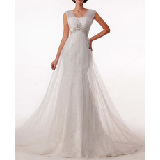 Elegantly Sheath Tulle Over Lace Wedding Dresses with Beaded and Rhinestone