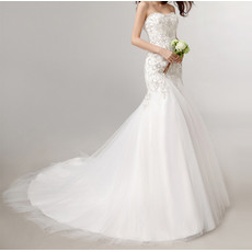 Luxurious Mermaid Sweetheart Satin Tulle Wedding Dresses with Embroidered Beaded Bodice