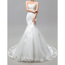 Perfect Trumpet Strapless Tulle Over Satin Wedding Dresses with Appliques Beaded