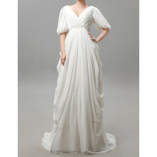 Victorian Column V-Neck Ivory Pleated Chiffon Wedding Dresses with Half Sleeves