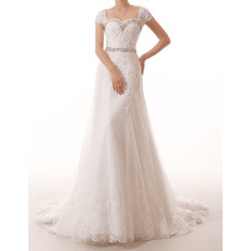 Sexy Sweetheart Cap Sleeves Sweep Train Applique Beaded Tulle Wedding Dresses with Beaded Waist and Neck