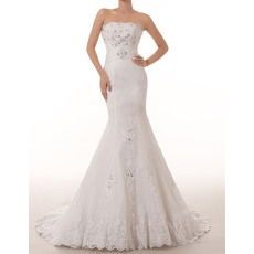 Elegantly Mermaid Straplss Court Train Tulle Wedding Dresses with Applique Beaded